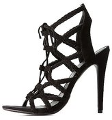 Charlotte Russe Braided Lace-Up Caged Sandals