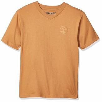 Timberland Boys' Short Sleeve V-Neck Logo T-Shirt