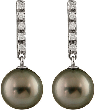 Masako Splendid Pearls 14K 0.20 Ct. Tw. Diamond & 9-9.5Mm Tahitian Pearl Drop Earrings