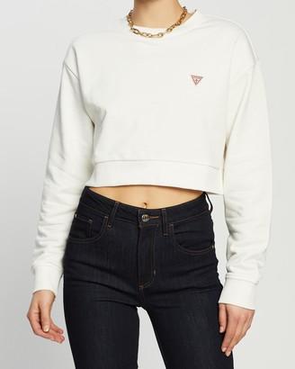 GUESS LS Crew Neck Crop Sweatshirt