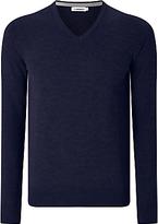 J. Lindeberg Lymann Merino Wool V-neck Jumper, Dark Blue