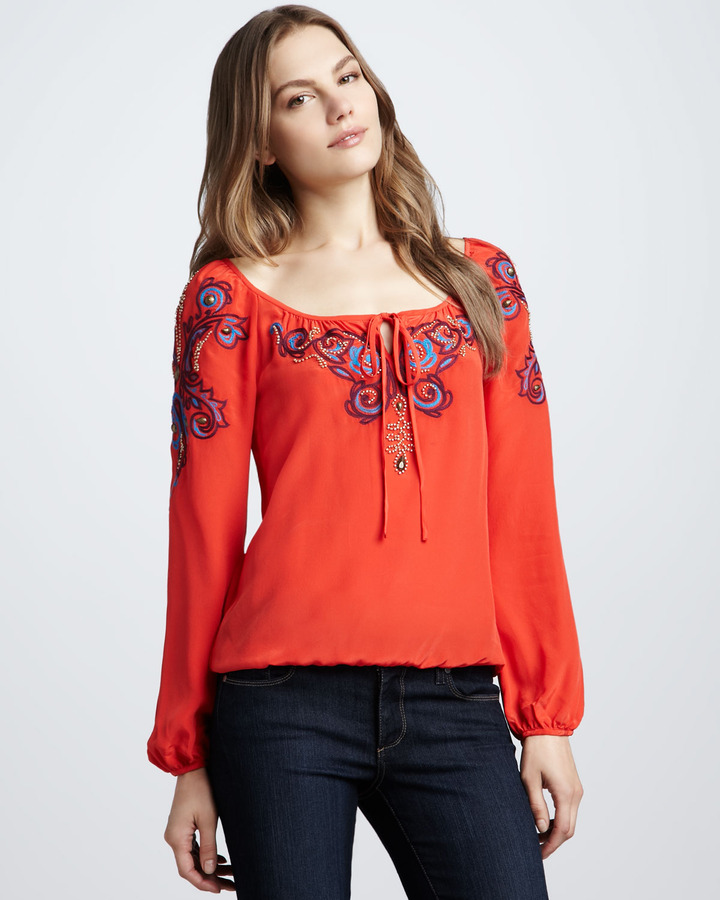 Nanette Lepore Aries Embroidered Blouse