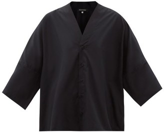 eskandar Batwing-sleeve Cotton-poplin Shirt - Black