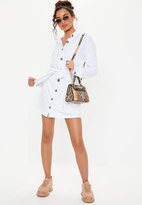 Missguided White Jersey Tie Waist Oversized Utility Shirt Dress