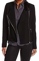 Calvin Klein Women's Moto Jacket with Faux Leather