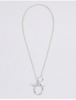 M&S Collection Ring T-Bar Silver Plated Necklace