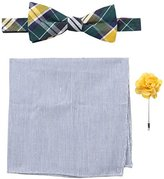 Original Penguin Men's Park Plaid Bowtie, Pocket Square, Lapel Pin Box Set