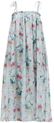 Loup Charmant Rimini Floral-print Cotton-blend Midi Dress - Womens - Blue Multi