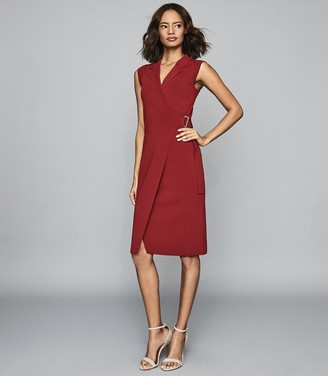Reiss Gabrielle - Knitted Wrap Front Bodycon Dress in Berry