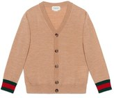 Gucci Boy's Stripe Cuff Merino Wool Button Cardigan