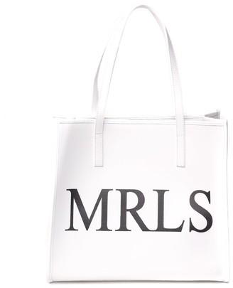 Marc Ellis White Shirley Leather Shopping Bag