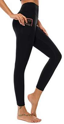 AOOM Yoga Pants Women Flare Leg Outter Pockets Long High Waist Tall-Petite (Black