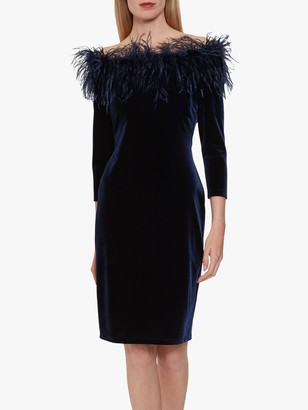 Gina Bacconi Dania Feather Trim Dress