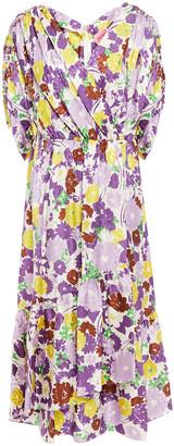 Kate Spade Wrap-effect Gathered Floral-print Silk-blend Jacquard Midi Dress