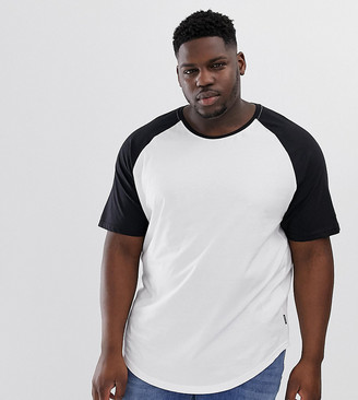 ONLY & SONS raglan sleeve curved hem t-shirt in white
