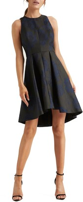 Halston Floral Jacquard Fit & Flare Dress