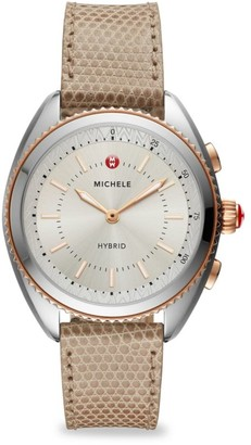 Michele Two-Tone Rose Gold-Plated Cashmere Dial and Cashmere Lizard Hybrid Smart Watch