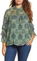 Lucky Brand Plus Size Women's Ruffled Floral Blouse