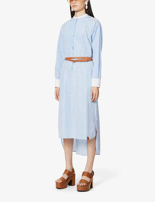 Loewe Striped cotton-poplin shirt midi dress