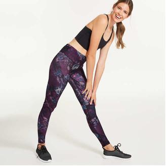 Joe Fresh Women's Print Active Legging, Dark Purple (Size M)