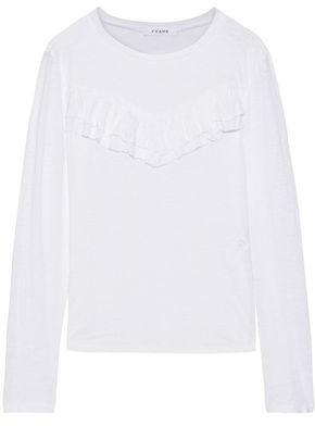 Frame Ruffled Slub Linen-jersey Top