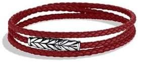 David Yurman Chevron Triple-Wrap Leather Bracelet