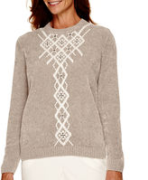 Alfred Dunner Alpine Lodge Long-Sleeve Embroidered Chenille Sweater