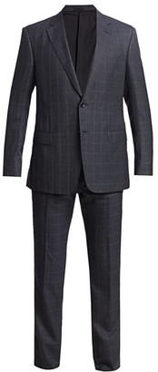 Giorgio Armani Windowpane Wool Silk Single-Breasted Suit