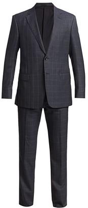 Giorgio Armani Windowpane Wool Silk Single-Breasted Suit