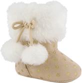 Baby Deer Tan & White Dot Faux Fur-Accent Pom-Pom Slipper Boot