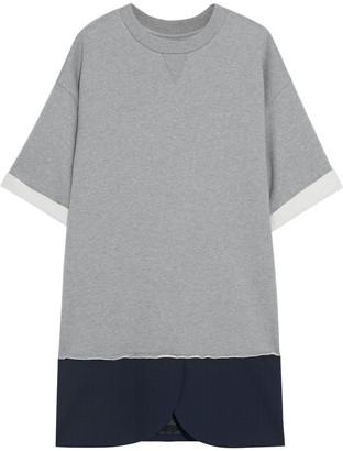 MM6 MAISON MARGIELA Pinstriped Cady-paneled Cotton-fleece Mini Dress