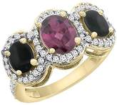 PIERA 14K Yellow Gold Natural Rhodolite & Black Onyx 3-Stone Ring Oval Diamond Accent, size 9