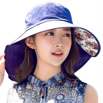 Comhats Womens SPF 50 Cotton Sun Hats for Ladies Foldable Large Brim with Neck Cover Flap Gadening Hiking Fishing Sunhat & Chin Strap 56-58CM Navy Blue