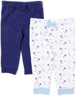 Sweet & Soft Navy & White Bear Two-Pair Pants Set