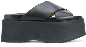 Marni Platform Cross-Strap Leather Sandals