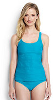 Classic Women's Long Texture Scoop Tankini Top-Calypso Blue