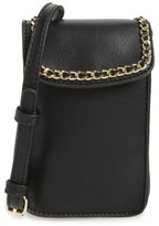 BP Chain Faux Leather Phone Crossbody Bag - Black