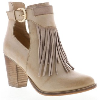 Sbicca Heeled Leather Fringe Booties - Tavineer