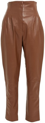 Alberta Ferretti High Waist Leather Tapered Pants