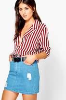 Boohoo Mary Distressed 5-Pocket Denim Panel Skirt