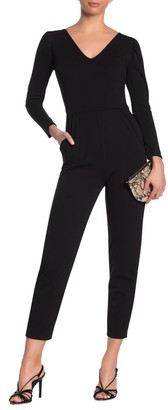 Love...Ady Solid V-Neck Puff Long Sleeve Jumpsuit