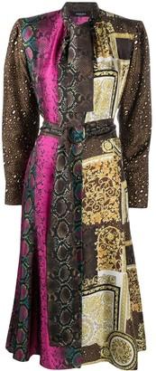 Versace Mixed-Print Silk Midi Dress
