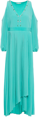 Maje Cold-shoulder Wrap-effect Pleated Crystal-embellished Mousseline Maxi Dress