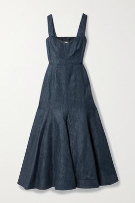 Gabriela Hearst Virginia Open-back Linen-chambray Dress - Dark denim