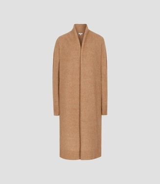 Reiss Willow - Longline Ribbed Knit Cardigan in Camel