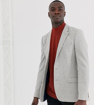 ASOS DESIGN Tall skinny wool mix blazer with wide herringbone in gray