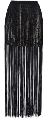 Haute Hippie Fringed Lace And Satin Mini Skirt