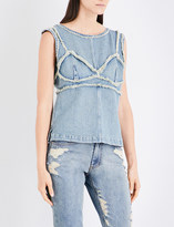 Area Ladies Round Exposed zip Birch Frayed Denim Top