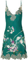 Carine Gilson Chantilly Lace-trimmed Printed Silk-satin Chemise - Emerald