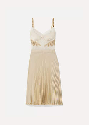 Burberry Lace And Leather-trimmed Satin And Pleated Crepe De Chine Dress - Beige